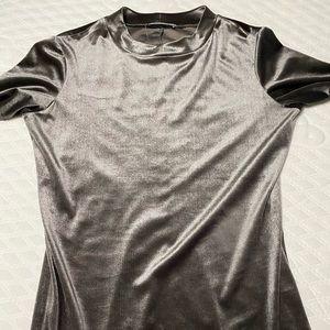 ZARA metallic shirt dress